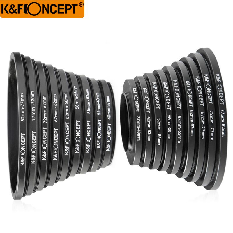 K & F konsep 18pcs 37-82mm 82-37mm Lens Langkah ke atas Ring Ring Adapter Set 37 49 52 55 58 62 67 72 77 82 mm
