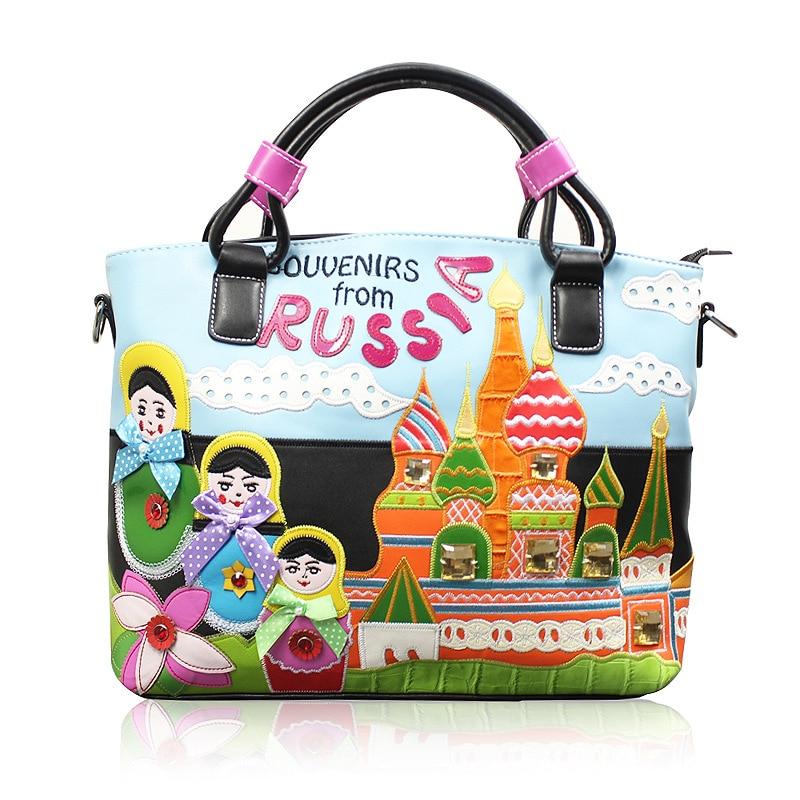 41x28CM 2017 New Women Retro Handbag Messenger Bags Hand Embroidery Trend Bag Creative Embroidery PU Bag A4706