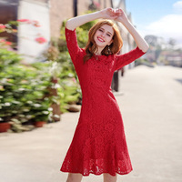 2018 New Spring New Brand Woman Fashion Sweet Clothing Women S Wear Red Lace Dress Fishtail
