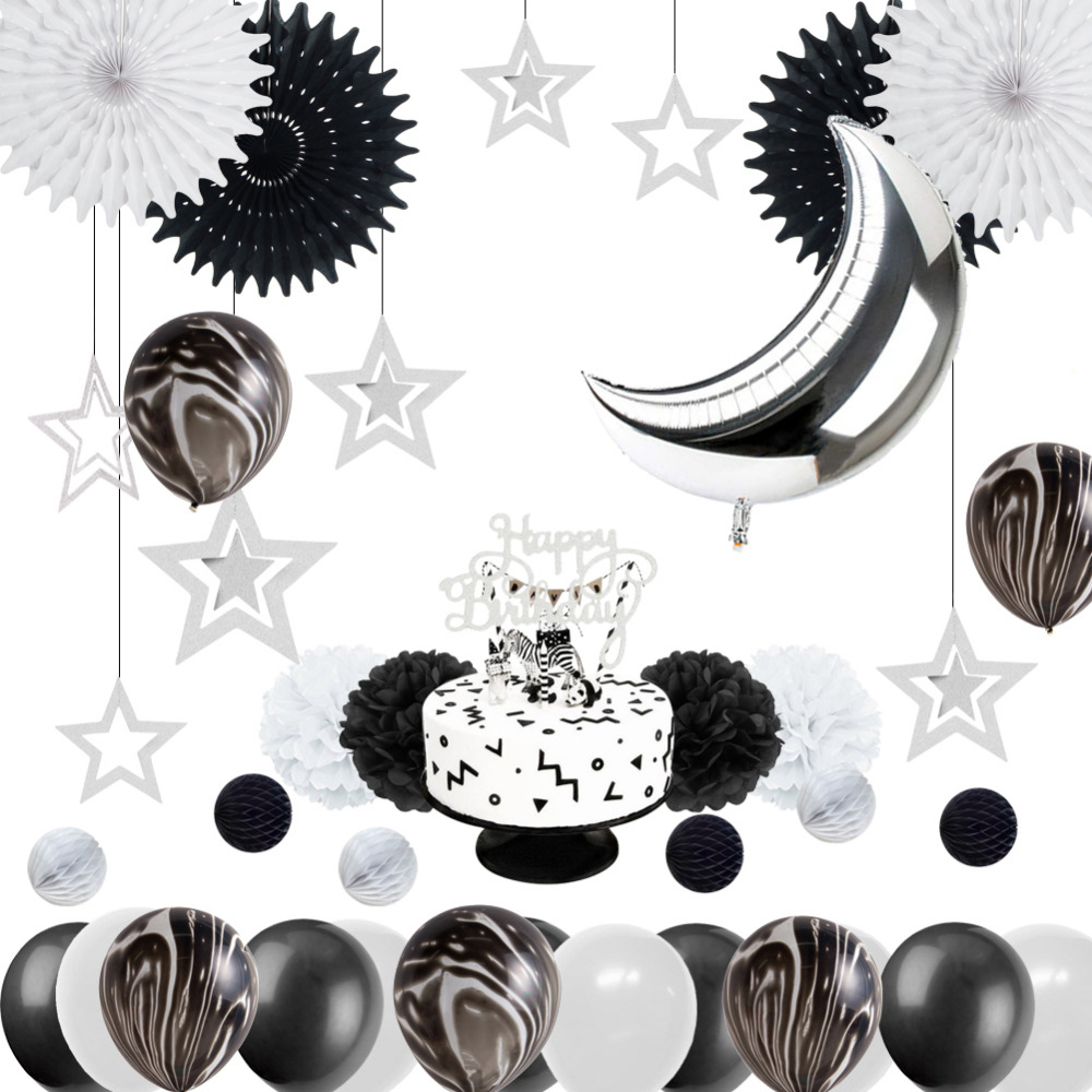 Monochrome 1st Birthday Party Decoration Kit Black White Marble Balloons Silver Moon Cake Topper for Baby Shower