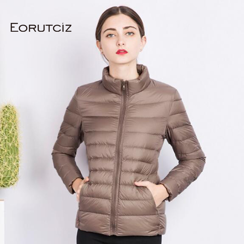 EORUTCI Spring Plus Size 3XL   Down     Coat   Women Short Ultra Light Duck   Down   Jacket Slim Vintage Black Autumn   Coat   LM177
