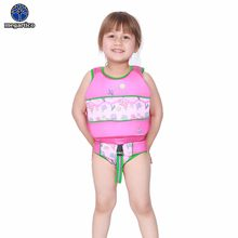 Megartico life jacket kids pink jellyfish printed swim learning vest back zipper Two Piece Swim Trainer with Matching Swim Suit(China)