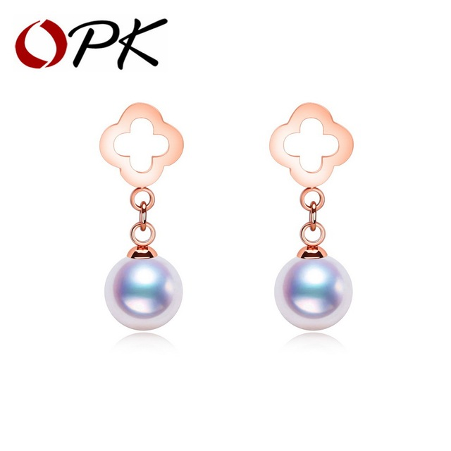 OPK Simulated Pearl Drangle Earrings For Women Hollow Clover Design