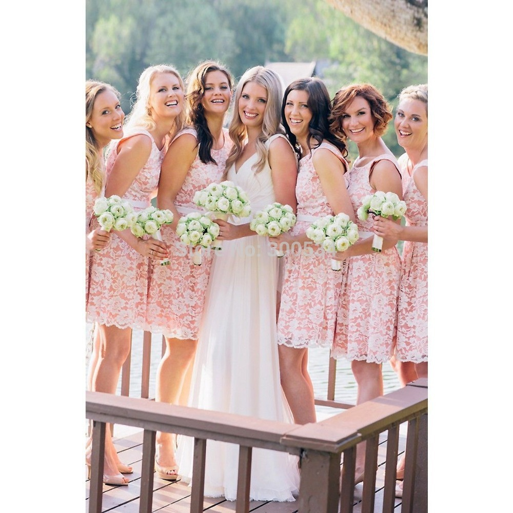 Online get cheap short dama in pink aliexpress alibaba group new designer short elegant pink white lace bridesmaid dresses party dresses bridesmaid gowns cheap vestidos damas ombrellifo Images