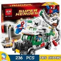 236 stücke Superhelden Spider-Man Doc Ock Lkw Heist Geld Träger 10239 Modell Bausteine Spielzeug Ziegel kompatibel Mit Lego