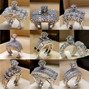 Modyle Elegant Wedding Engagement Rings Set 2 PCS Silver Anniversary Accessories With Full Shiny Cubiz Zircon Stone(China)