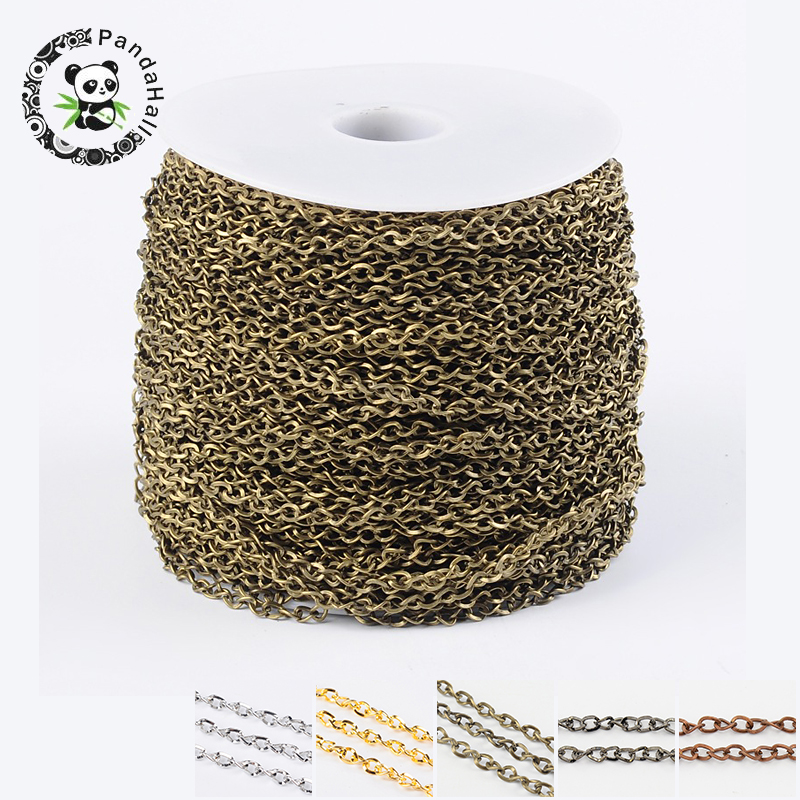 Pandahall 100m/roll Iron Side Twisted Chain With Spool Unwelded For DIY Jewelry Accessories Finding Necklace Bracelet Making