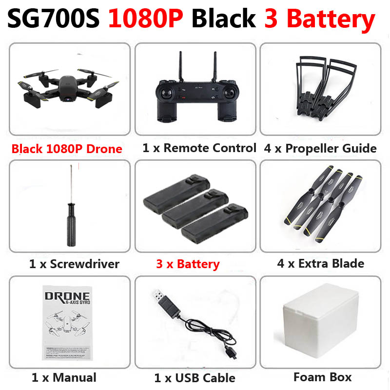 SG700-S Professional Foldable Drone with Double Camera 1080P 720P 4K WiFi FPV Wide Angle Optical Flow RC Quadcopter Helicopter