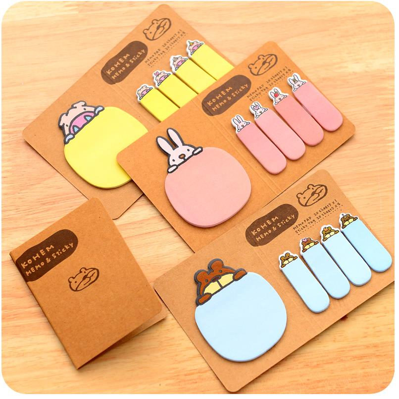 1 pcs/Lot Kraft sticky tag Brown paper memo pad Folding Post it notes Cute stationery Office School supplies 01944