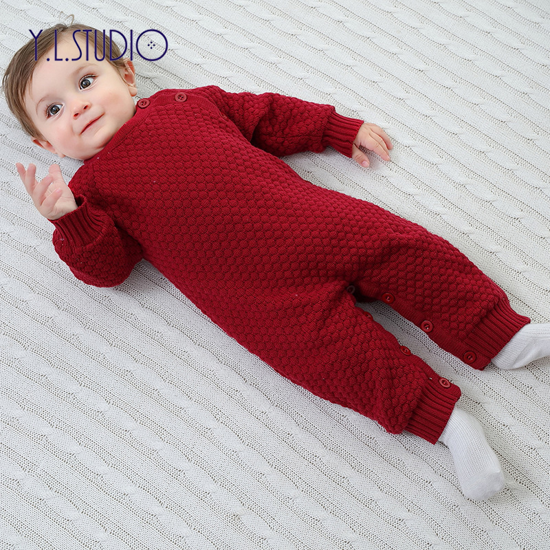 Hiver bébé garçon laine salopette pour filles vêtements point à manches longues barboteuse épaissir chaud Onesies petit bébé salopette pour enfants