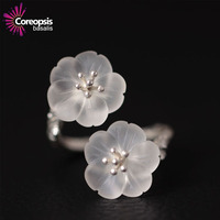 Retro Style S925 Sterling Silver Original Design Handmade Crystal Double Flower Open Ring For Women Top