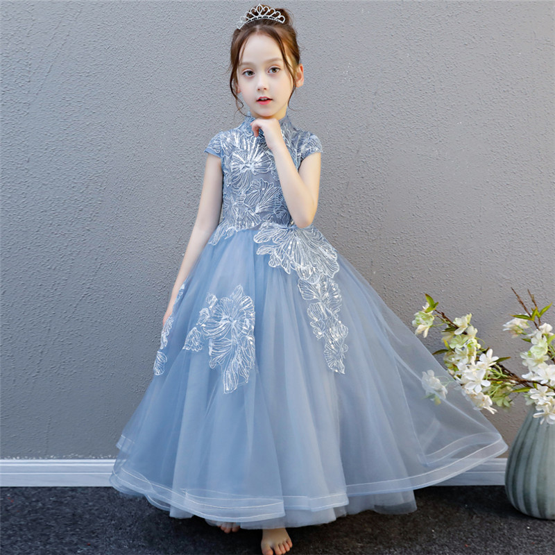 Summer New Elegant Children Kids Birthday Evening Party Ball Gown Princess Lace Long Dress Baby Girls Piano Model Show Dress 2018 summer new children girls elegant noble birthday wedding party lace princess dress kids hand made beading ball gown dress