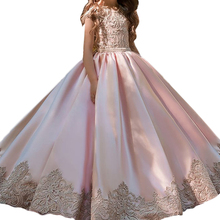 Jewel Cap Sleeves First Communion Dresses Pink Satin With Lace Elegant Children Ball Gowns Flower Girls Dress For Weddings Party недорого