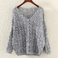 New Arrival 2016 Autumn & Winter 1pc Womens Batwing Sleeve Loose Knit Long Pullover Sweater 3Colors