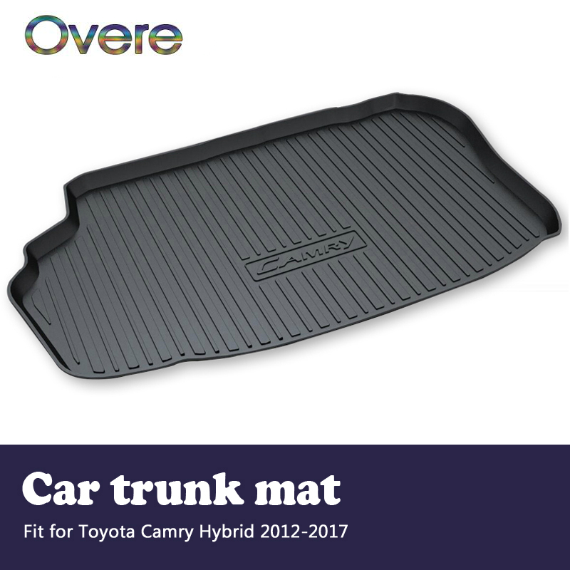 цена на Overe 1Set Car Cargo rear trunk mat For Toyota Camry Hybrid 2012 2013 2014 2015 2016 2017 Boot Liner Anti-slip mat Accessories
