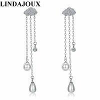 LINDAJOUX 925 Sterling Silver Pearl Earrings Fashion Cubic Zircon Tassel Chain Long Drop Earring For Women