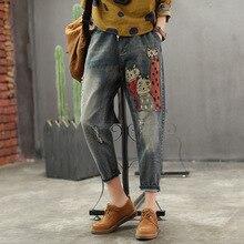 Лидер продаж, весенние джинсы в стиле ретро для женщин, тонкий тип, тонкий тип, эластичный пояс, карман, отбеленный котенок, узор, женские повседневные джинсовые брюки