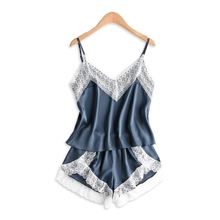Women Fashion Pajama Set Sleepwear Sexy Sleeveless Spaghetti Strap Nightwear Lace Trim Satin Cami Top shorts Pajama Set Homewear lace insert cami pajama set with robe