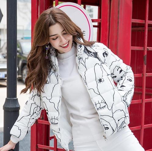 Autumn Winter Women Parka 2019 Casual Print Floral Thick Warm Jacket Coat Short Cotton Parka Outwear casaco feminino ukraine