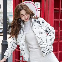 Autumn Winter Women Parka 2019 Casual Print Floral Thick Warm Jacket Coat Short