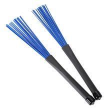 1 Pair Retractable Black Handles Jazz Drum Brushes Sticks Blue Nylon 32cm цены онлайн