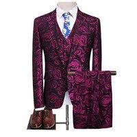 (Jacket+Vest+Pants) Floral Three Piece Suit Slim Fit Men's 2017 Rose Flower Pattern Wedding Slim Fit Party Prom Suits S 5XL