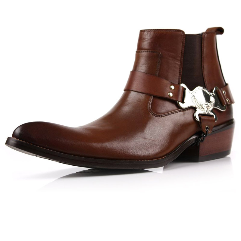 f22941f10f5 US $110.0 |New Real Leather Men's Ankle Cowboy western BOOTS Formal shoes  slip on black or brown size 5.5~12 us-in Men's Costumes from Novelty & ...