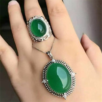 KJJEAXCMY boutique jewels 925 Pure silver inlay natural green jade medulla ring + pendant 3 pieces set with diamond curve plant