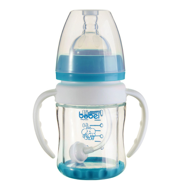 Frasco bebendo 100 ml Atualizar durável bonito bebê recém-nascido dupla lidar com design à prova de explosão-garrafa de vidro palha copo de treinamento