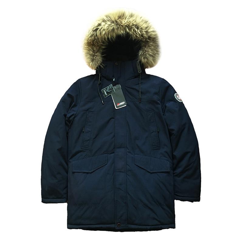 2019 de Alta Qualidade Homens Casaco de Inverno Parka Alaska Grosso Casaco Acolchoado Jaqueta Parkas Capuz De Pele Longo Casaco de Inverno Dos Homens Quentes tamanho russa