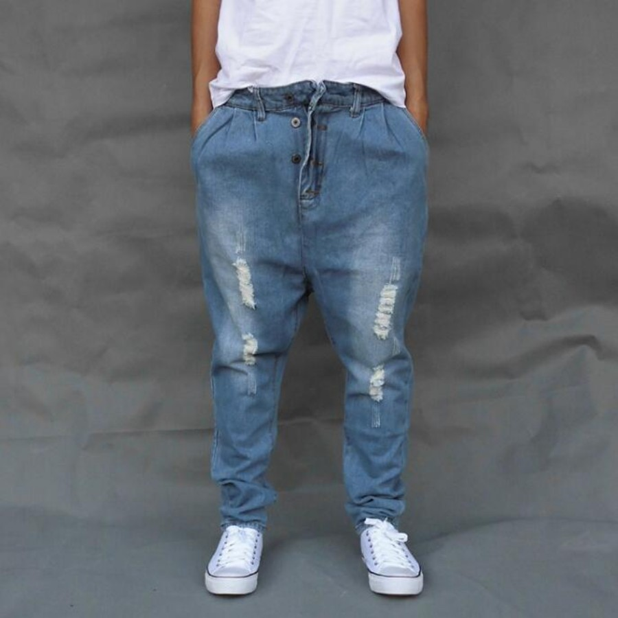 Blue Ripped Baggy Denim Pants Male Low Drop Crotch Skateboard Jeans Mens Loose Harem Jogger Pants Plus Size Cross Pants A60509