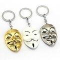 V for Vendetta Keychain 3 colors Mask Key Chain Hot movie Key Ring Holder Pendant Chaveiro Jewelry Souvenir YS10015