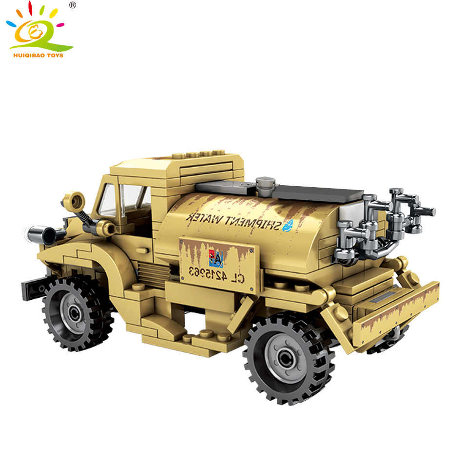 HUIQIBAO TOYS 284pcs Army Canada CMP C15A Truck Building Blocks For Children Legoingly Military WW2 vehicle Soldier Figure brick