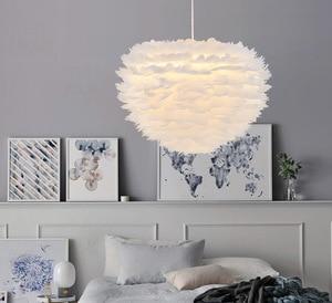 Image 2 - Nordic white feather pendant lights creative personality Nordic bedroom restaurant childrens room bird plume nest pendant lamp