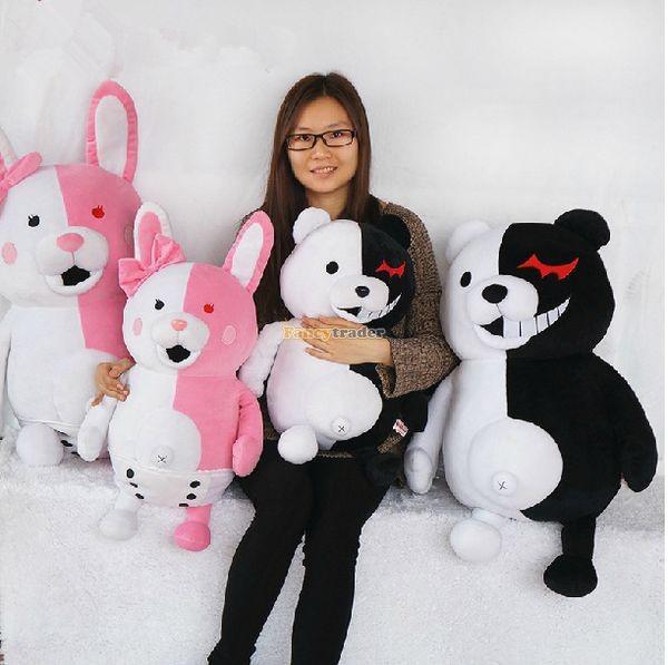 Fancytrader 28\'\' 70cm 2 pcs Giant Stuffed Cute Plush Monokuma and Monomi, Free Shipping FT50353 (4)