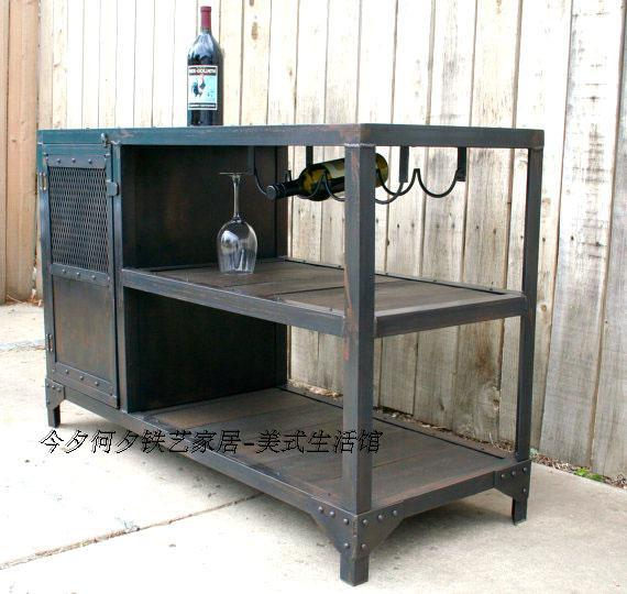 American Country Wrought Iron Furniture Red Wine Sideboard Bar Cabinet To  Do The Old Industrial Style