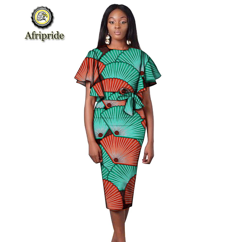 2019 africain ankara robes pour femmes dashiki robe moulante robe imprimer cire batik flare manches robe de soirée AFRIPRIDE S1925056