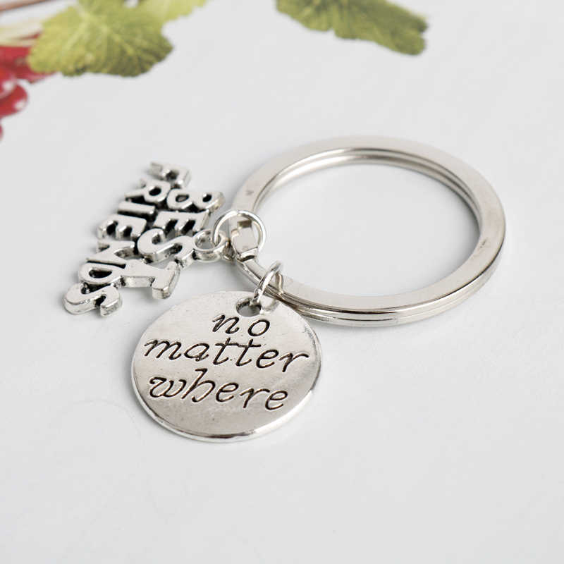 Dongsheng החברים הכי טובים חקוק תכשיטי Keychain תיק סגולה תליון מפתח שרשרת מפתח שרשרת טבעת ידידות מתנות טובות עבור Friends-50