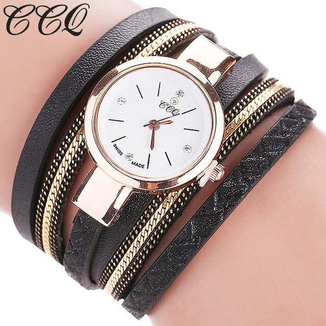 CCQ Women PU Leather Strap Bracelet Watches Multilayer Wrapped Dress Quartz Watc