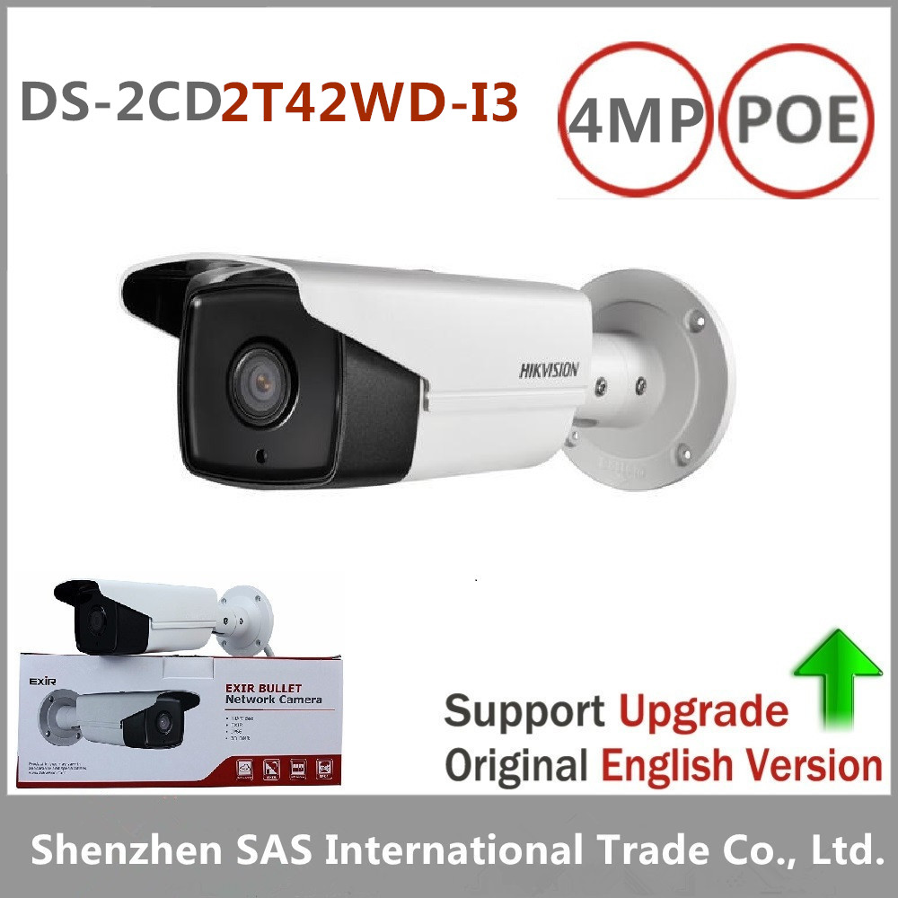 Free shipping Hikvision DS-2CD2T42WD-I3 English version 4MP EXIR Network Bullet IP security Camera POE, 120dB WDR, 30m IR H.264+