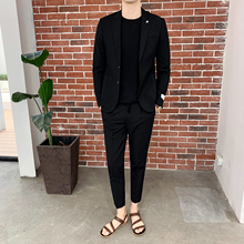 Slim Fit Men Suits 2 Piece Mens Suit With Pants Tweed Classic Black Streetwear Casual Tuxedo Costume Homme Terno 2019