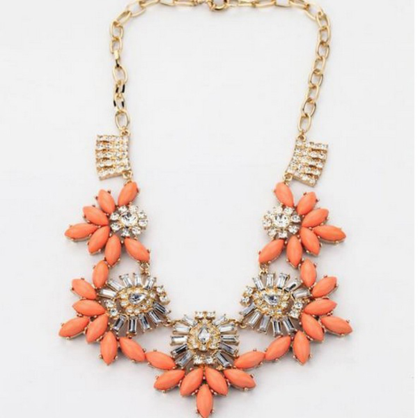 HOt sale the latest fashion shining orange flower necklace for women