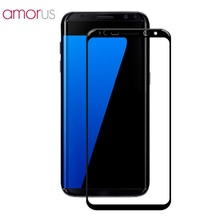 AMORUS for Samsung Galaxy S8 Plus Silk Printing Tempered Glass Screen Protector Full Size for Galaxy S 8 Plus- Black