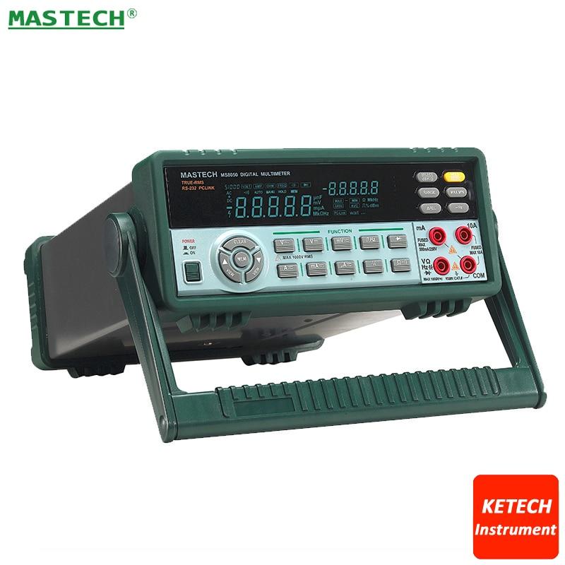 53000 отсчетов VFD Дисплей автоматический выбор диапазона скамейка мультиметр Высокая точность Правда RMS RS232C MASTECH MS8050