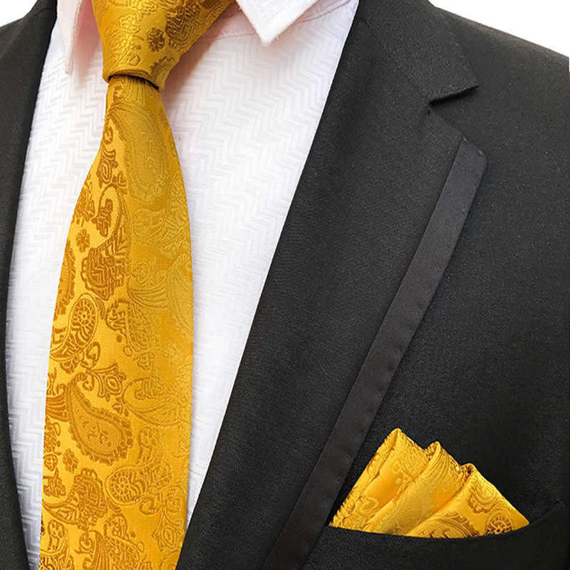 b3db266f65b0e New Men's 100% Silk Tie Pocket Square Set Solid Yellow Paisley Neckties  Wedding Party Business