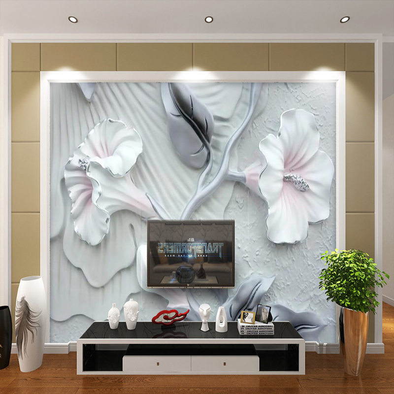 background bedroom wall tv paper embossed decorative sofa mural living 3d