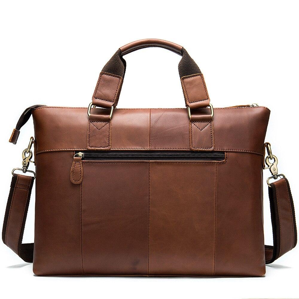 MVA Messenger Bag hommes sacs à bandoulière en cuir pochette d'ordinateur 14 pouces en cuir véritable hommes sacs pour Document travail sacs à main fourre-tout 7108 - 2