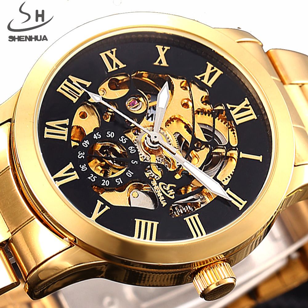 SHENHUA Top Luxury Brand Skeleton Mechanical Watches Men Male Wristwatch Stainless Steel Strap Fashion Casual Automatic Watch shenhua brand black dial skeleton mechanical watch stainless steel strap male fashion clock automatic self wind wrist watches