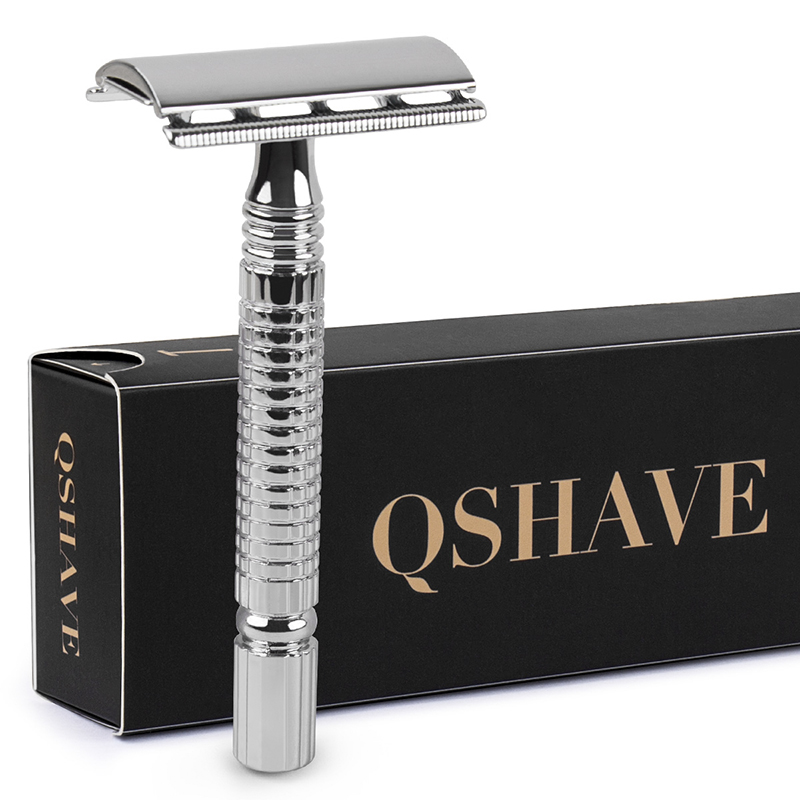 Qshave Short Handle Classic Safety Razor Double Edge Mens Shaving Razor Gift Box Pack Cure Handle, 1 Razor & 5 Blades