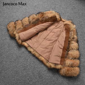 Image 4 - Fashion Style Fur Jacket Womens Real Raccoon Fur Coat Winter Keep Warm Luxury Outerwear S7375